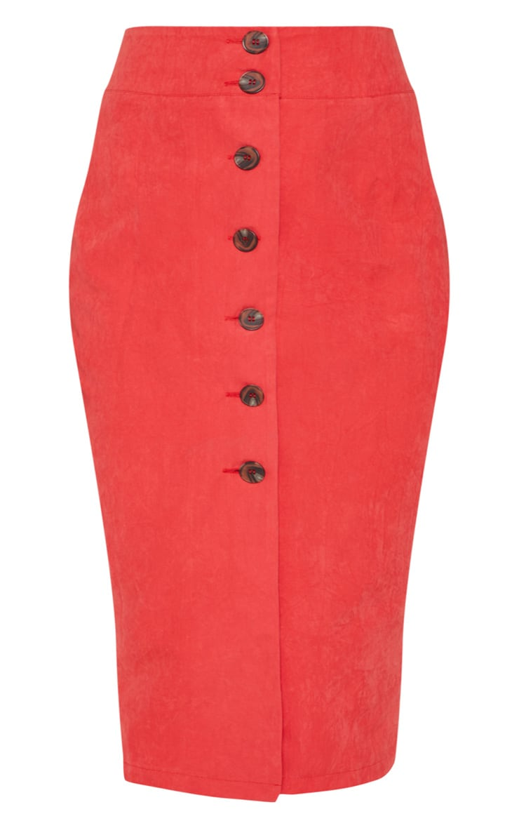 Red Faux Suede Button Front Midi Skirt 3