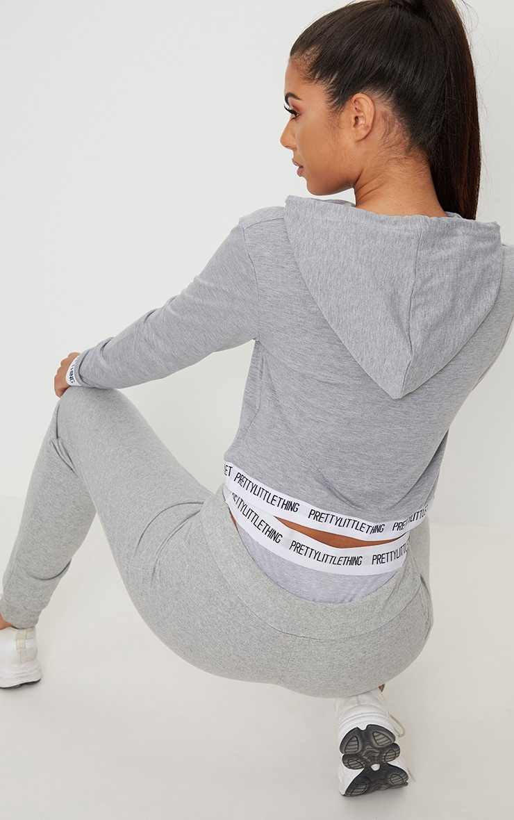 PRETTYLITTLETHING Grey Tape Crop Hoodie 2