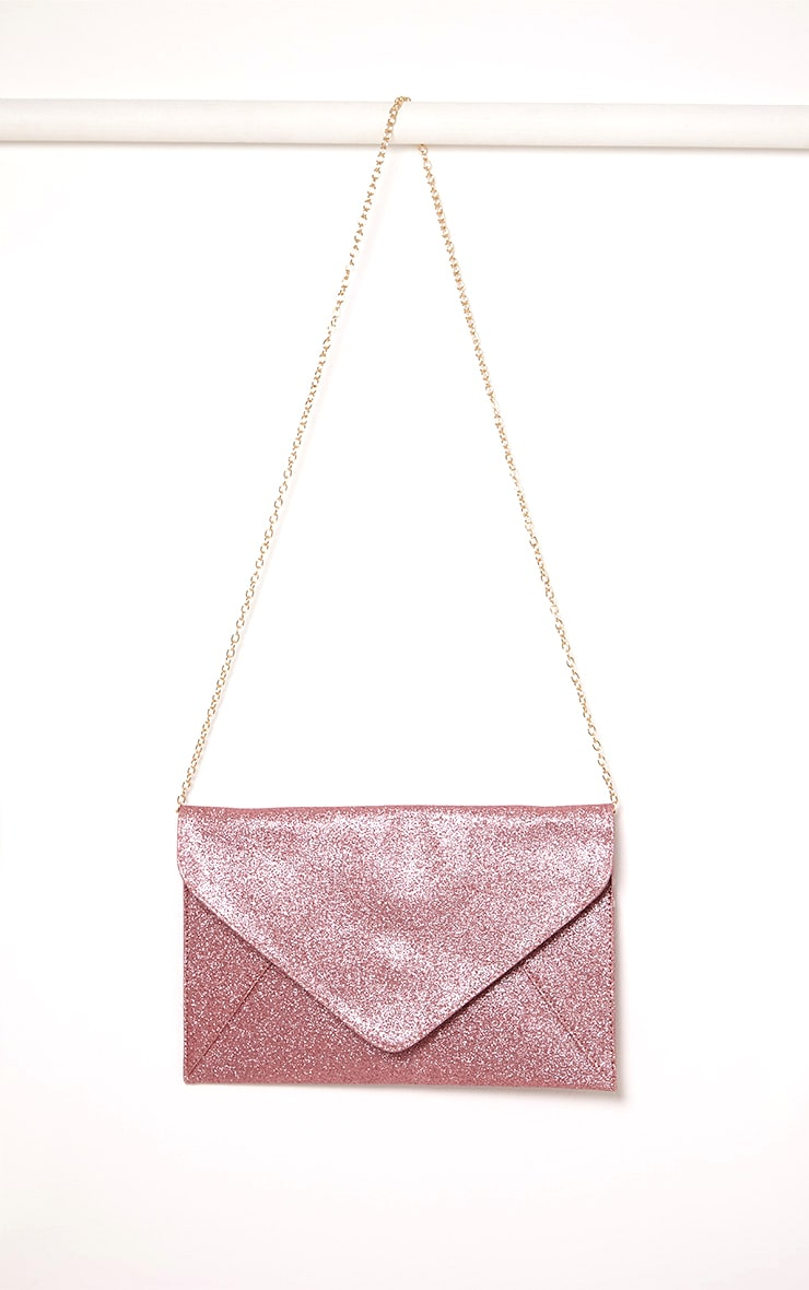 Paige Pink Glitter Clutch Bag 5