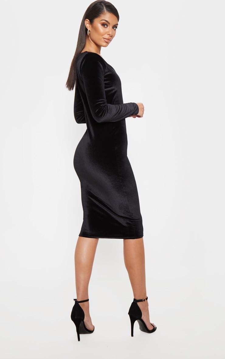 Black Velvet Plunge Midi Dress 2