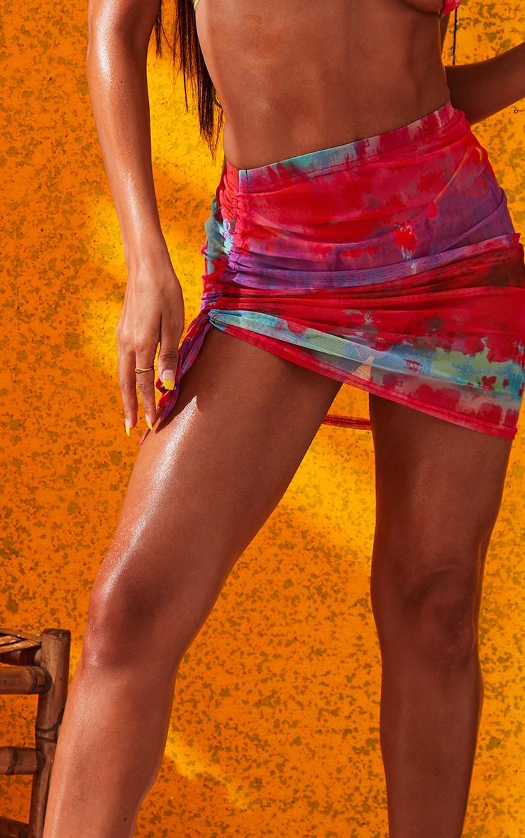 Multi Printed Ruched Mesh Mini Skirt 6