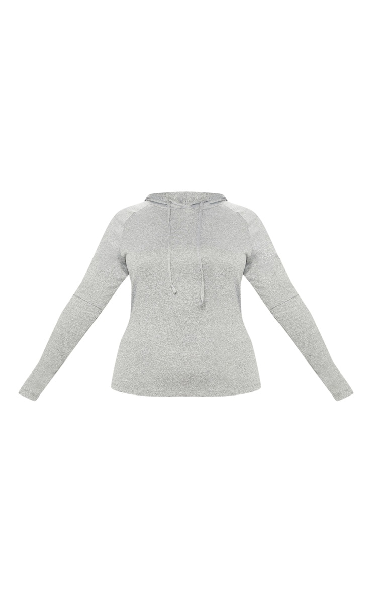 Plus Grey Marl Long Sleeve Hooded Gym Top 3
