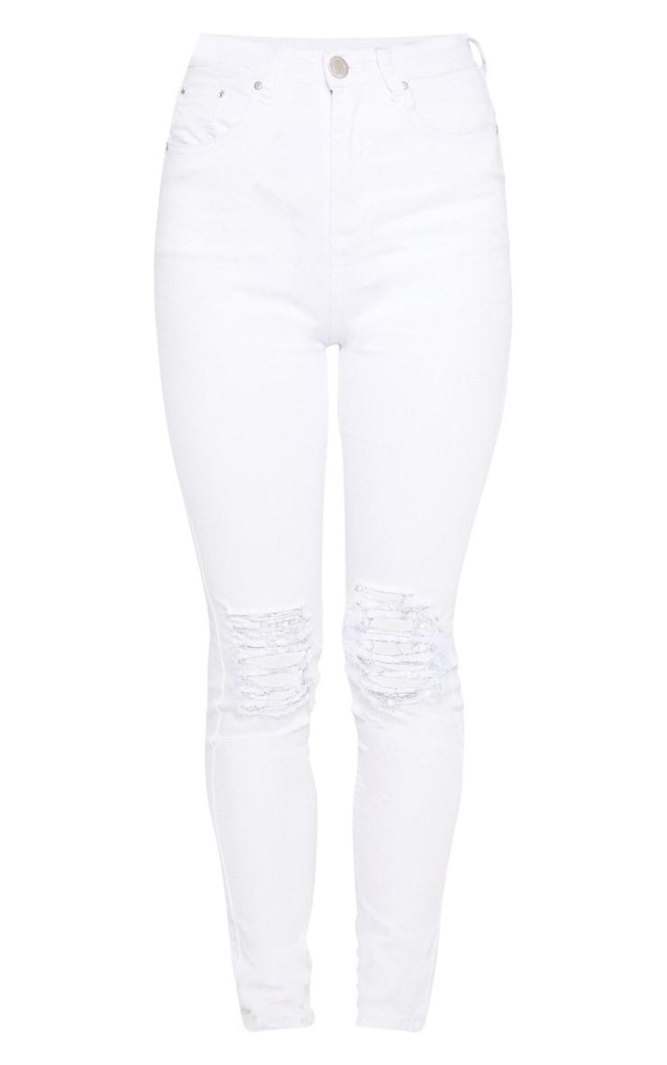 White Knee Rip 5 Pocket Skinny Jean 3