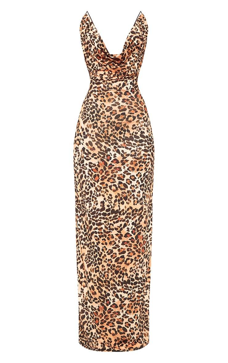 Silva Leopard Print Cowl Neck Maxi Dress 3