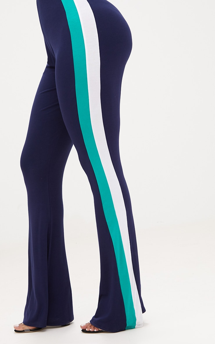 Shape Navy/Green Stripe Side Flared Trousers 5
