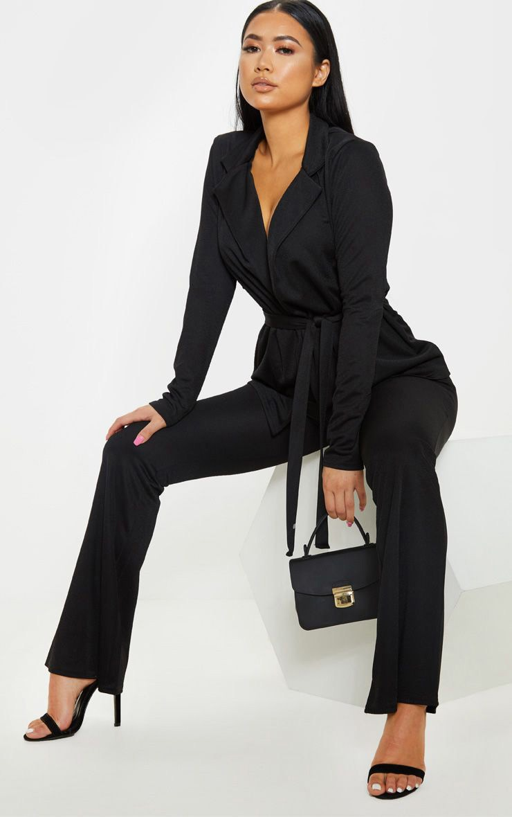 Petite Black Tie Waist Jacket 1