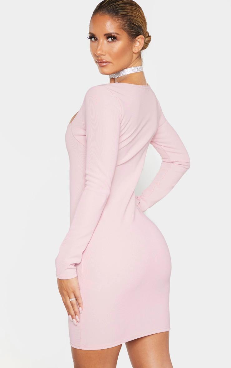 Dusty Lilac Bandage Rib Long Sleeve Square Neck Bodycon Dress 2