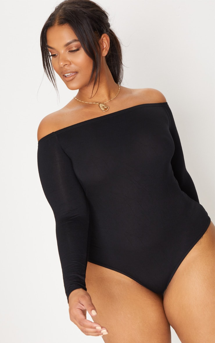 Plus Black Basic Bardot Bodysuit 1