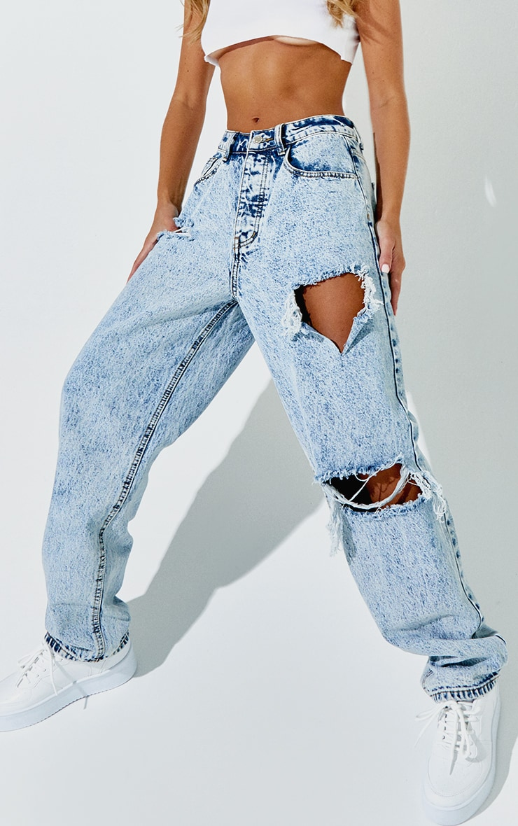 PRETTYLITTLETHING Acid Blue Wash Open Knee Boyfriend Jeans 2