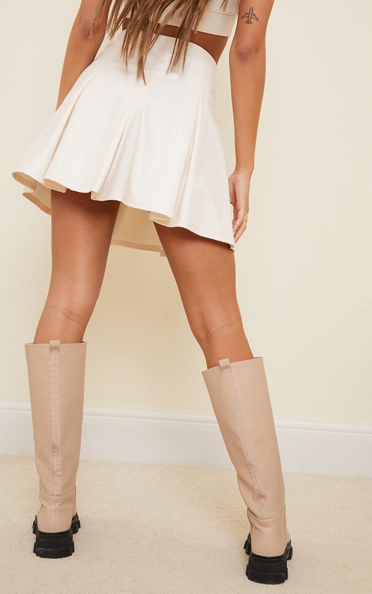 Cream Faux Leather Skater Skirt 3