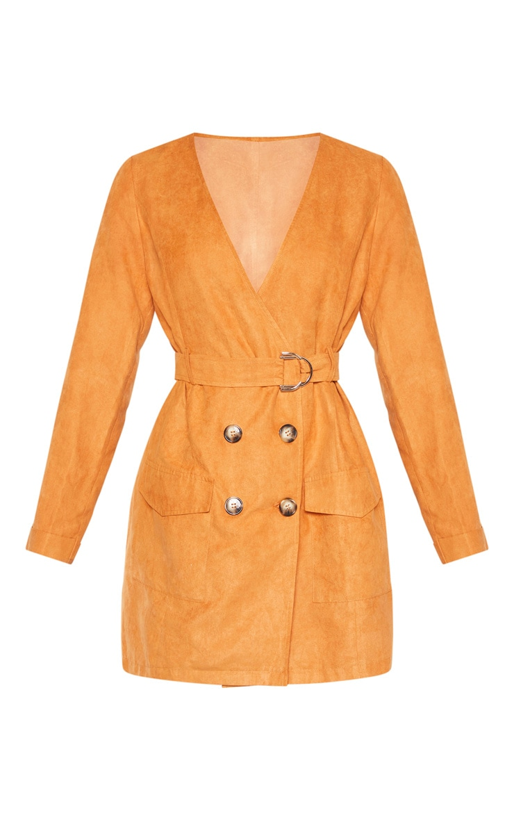 Tan Faux Suede Tortoise Button Buckle Blazer Dress 4