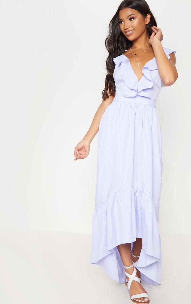 Blue Stripe Frill Detail Dipped Hem Maxi Dress