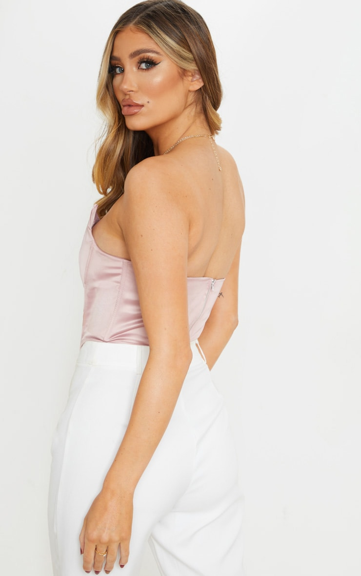 Dusty Rose Satin Pointed Hem Bandeau Corset 2