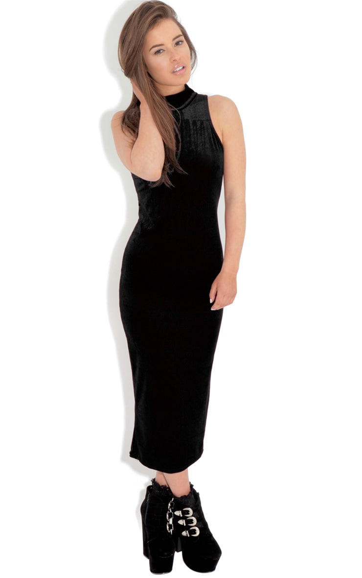 Gigi Black Velvet Midi Dress 4