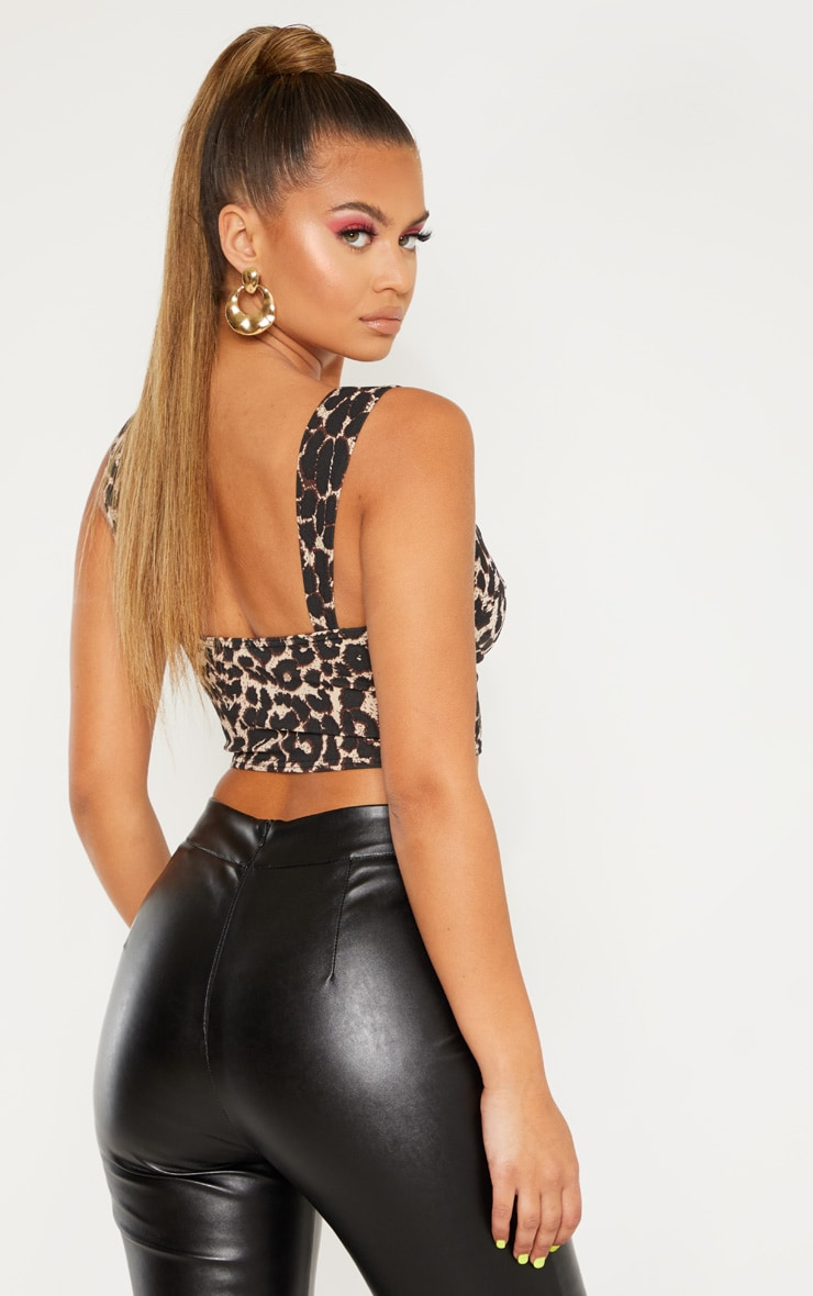 Brown Leopard Print Crop Top 2