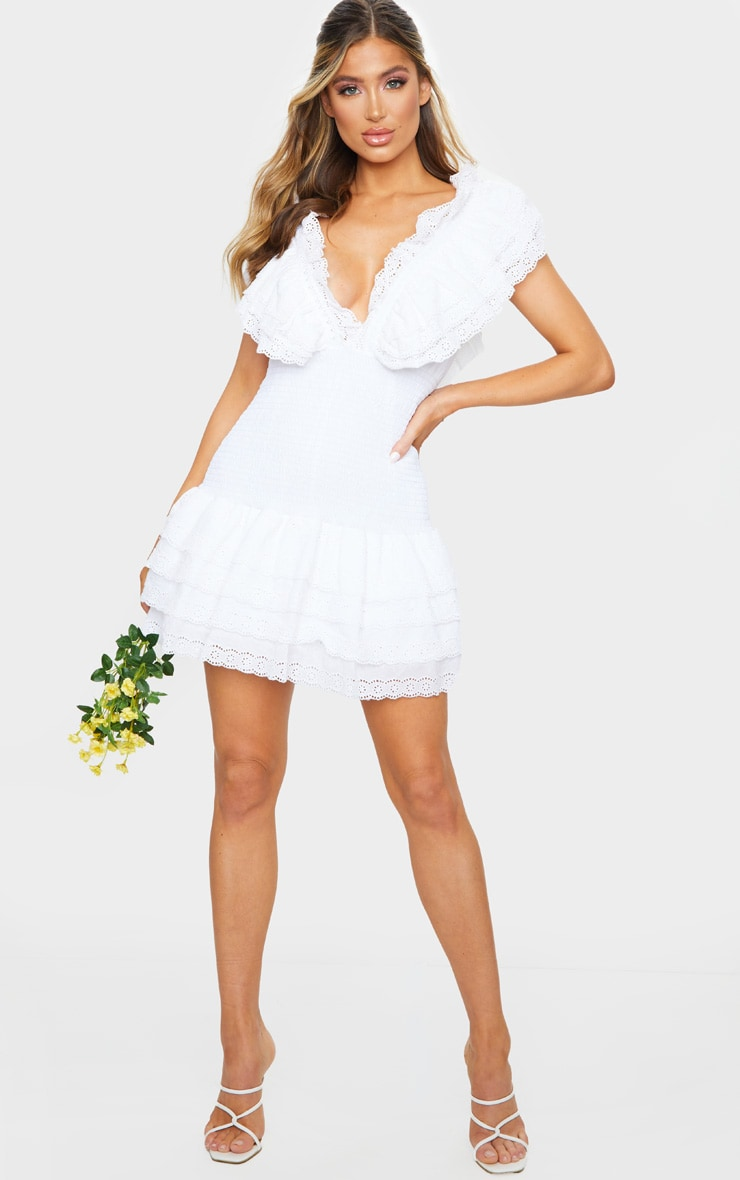 White Broderie Anglaise Shirred Frill Bodycon Dress 3