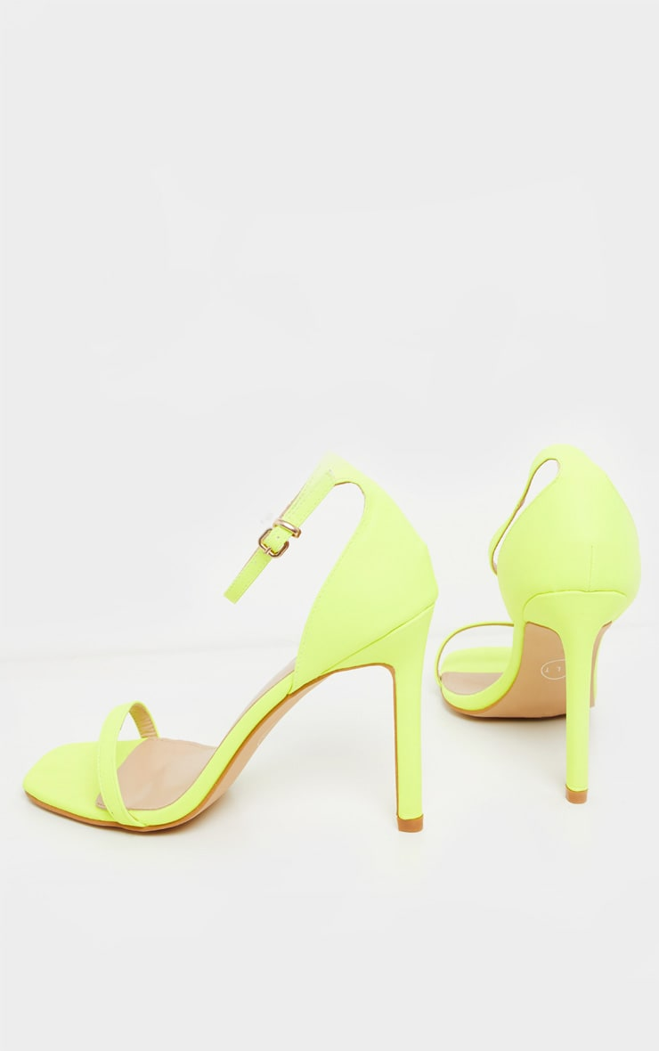 Neon Lime Thin Strap Square Toe Strappy Sandal 4