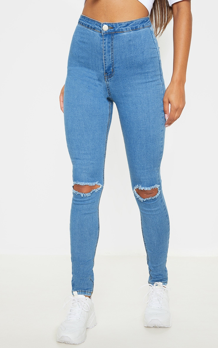 Light Wash Knee Rip Disco Skinny Jean  2