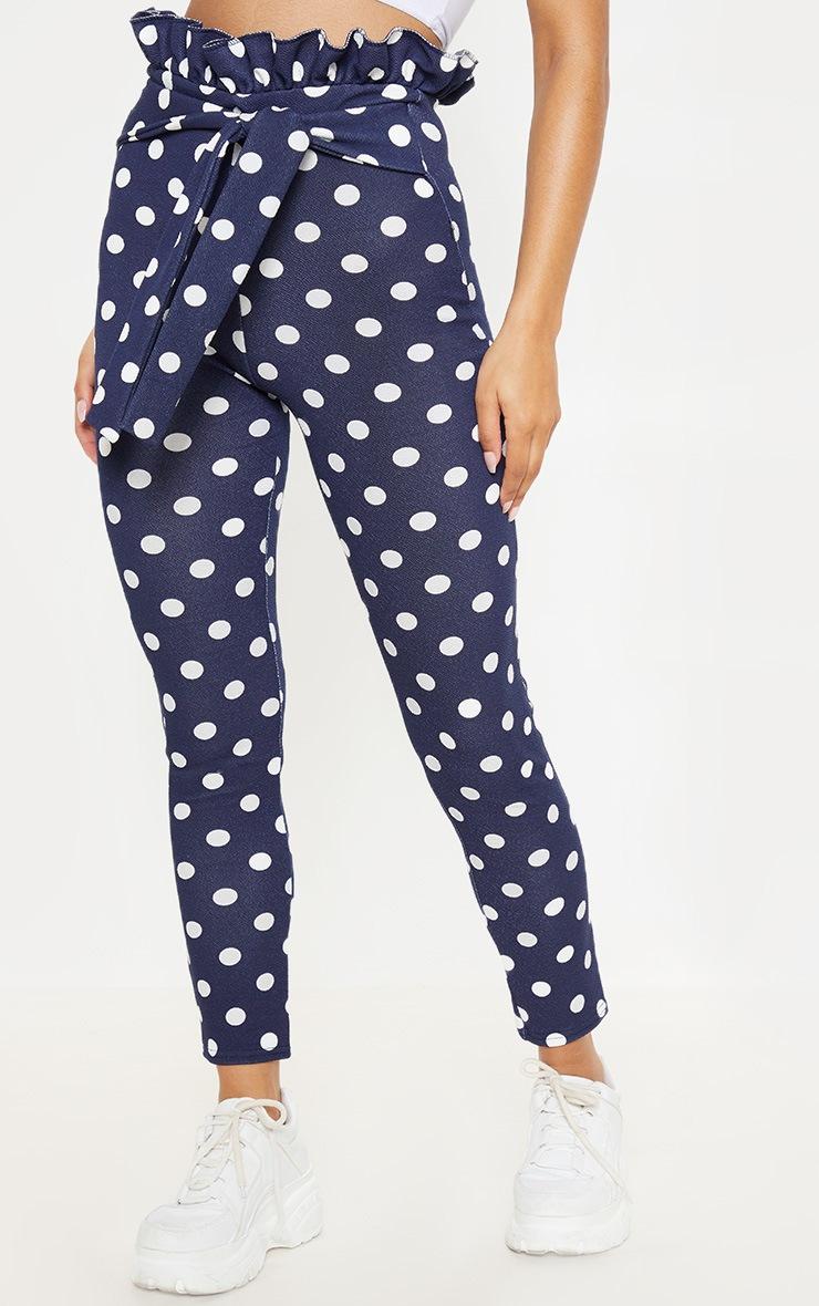 Navy Polka Dot Paperbag Skinny Trousers 2