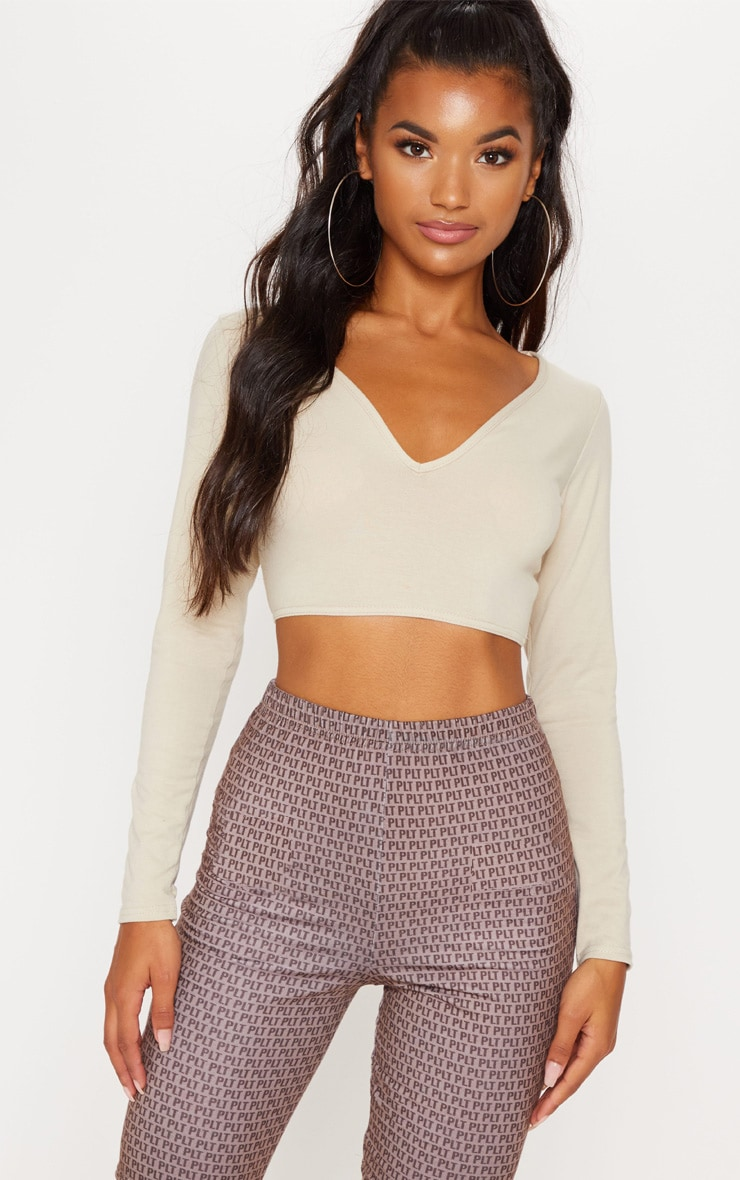 Basic Stone Long Sleeve Deep V Crop Top