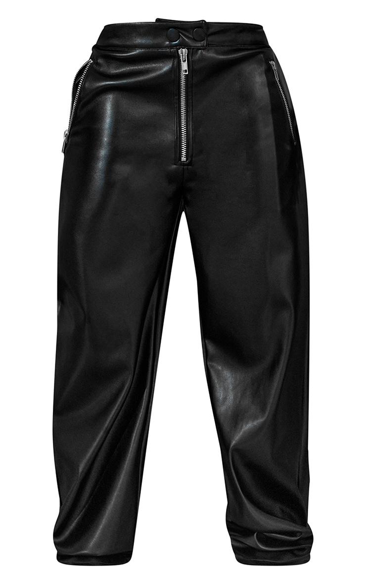 Black PU Zip Front Wide Leg Trousers 5