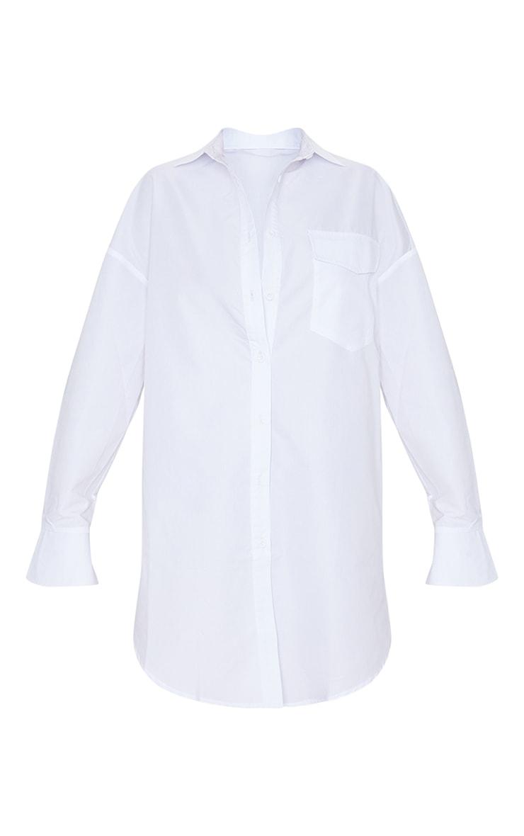 White Bell Cuff Detail Oversized Shirt Dress 4
