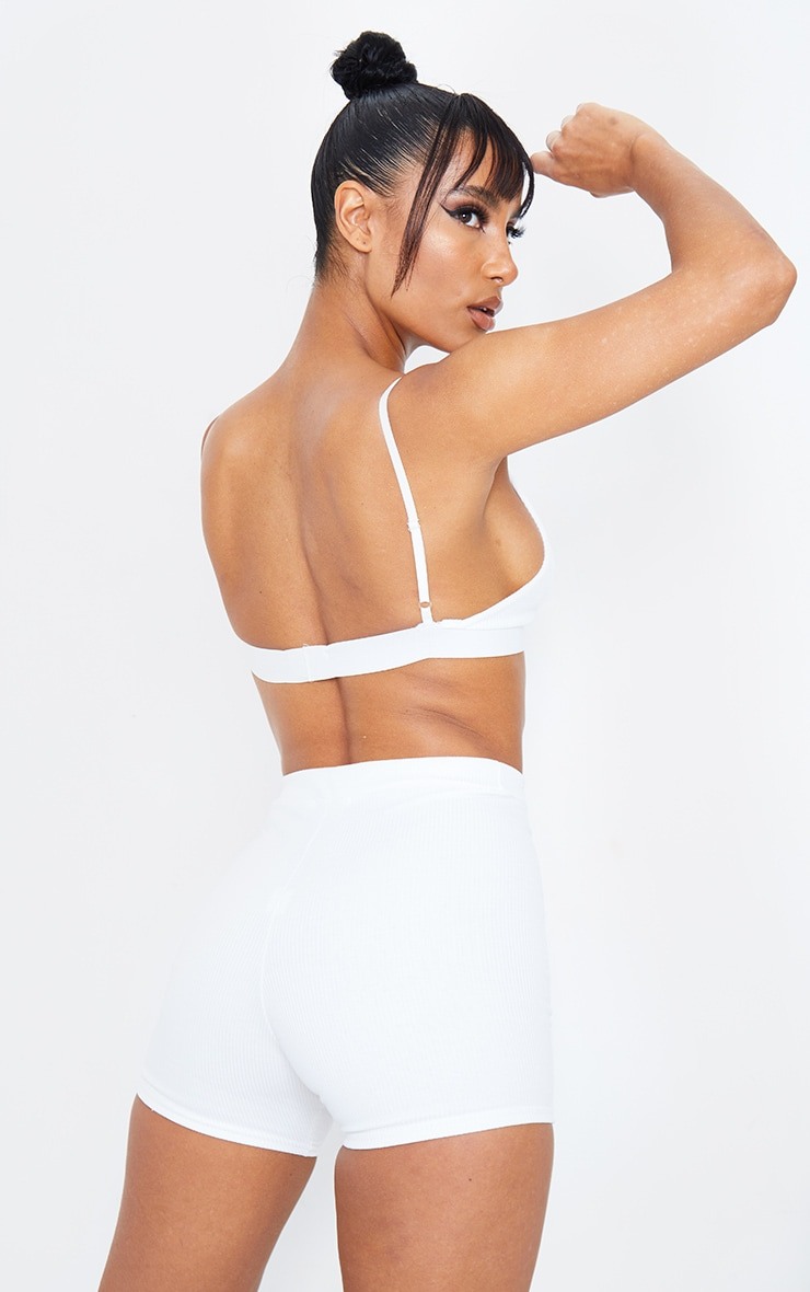 Cream Ribbed Plunge Bralet 3