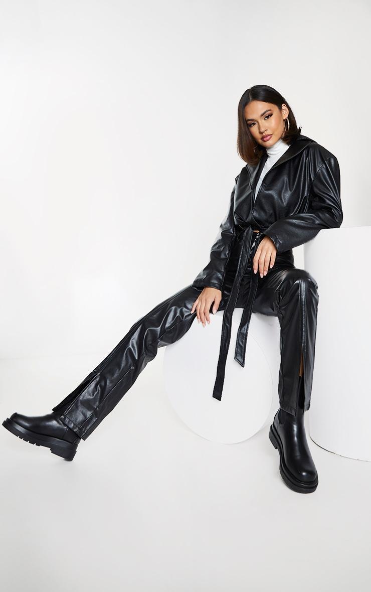 Black Faux Leather Super Cropped Belted Front Jacket 3