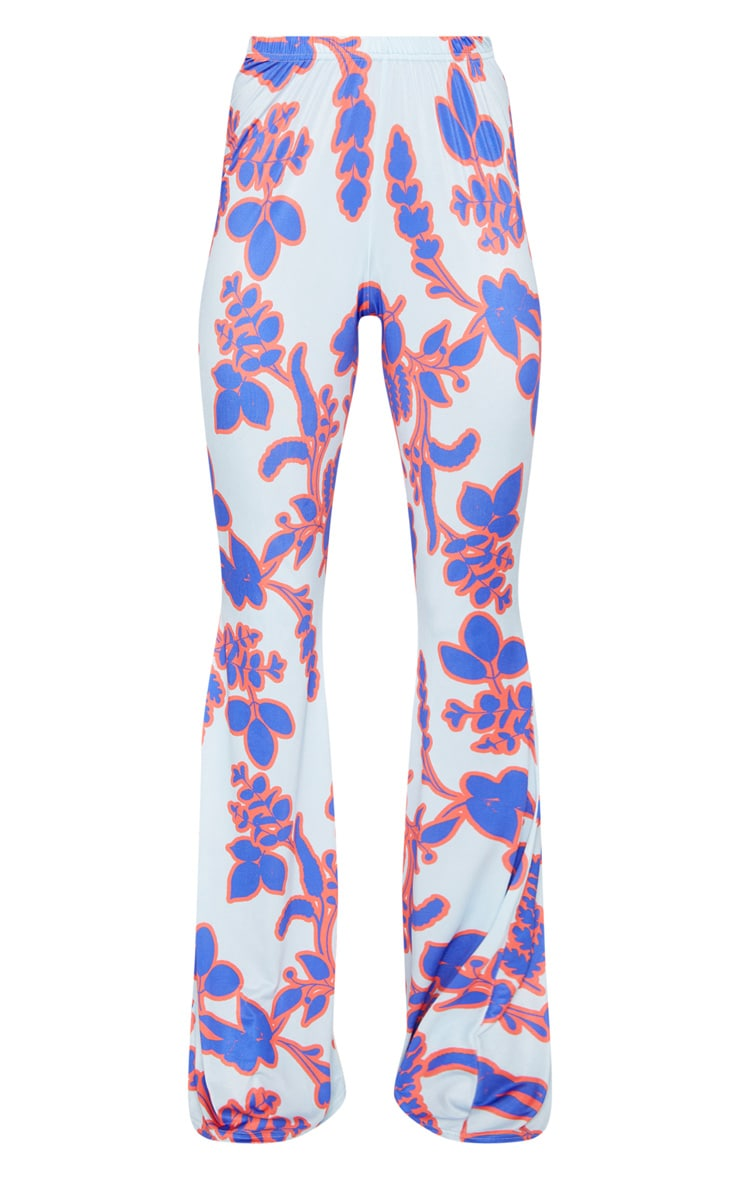 Blue Floral Printed Slinky Flared Trousers 3