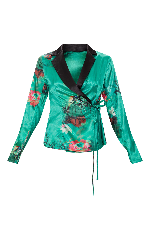 Emerald Green Floral Satin Lapel Blouse  3
