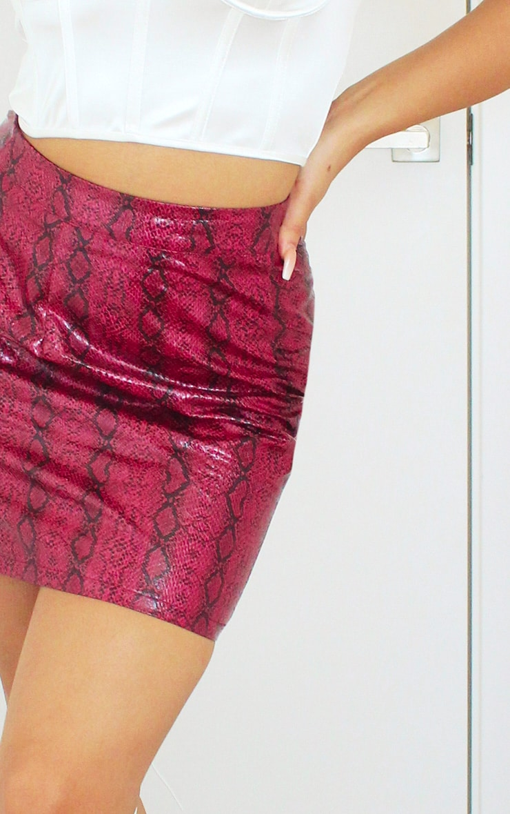 Hot Pink Snake Print Faux Leather Mini Skirt 5