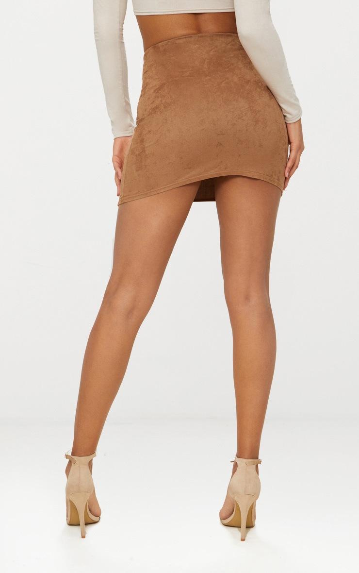 Tan Faux Suede Mini Skirt  3