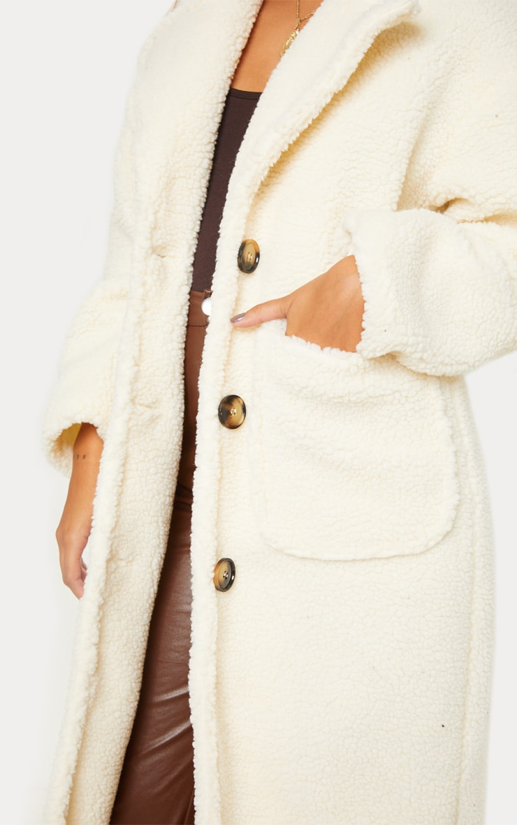 Cream Maxi Borg Coat 5