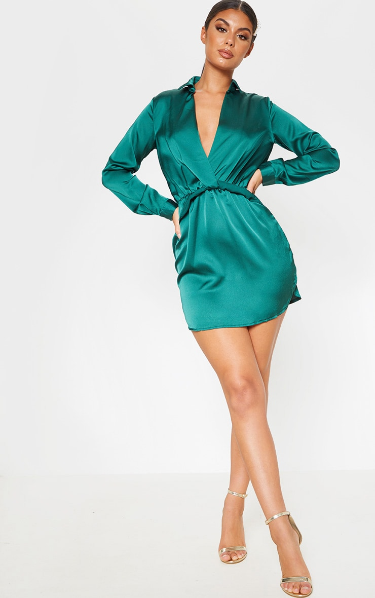 Katalea Emerald Green Twist Front Silky Shirt Dress 1