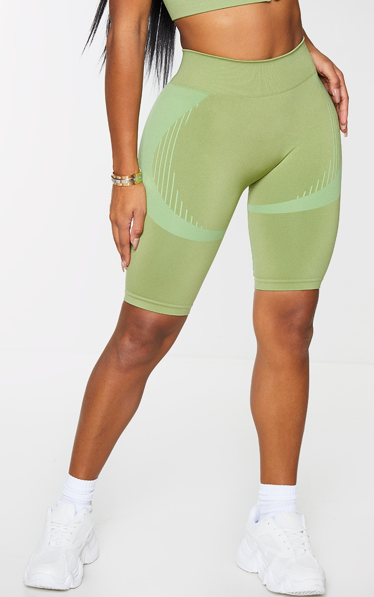 Shape Khaki Seamless Cycling Shorts 2