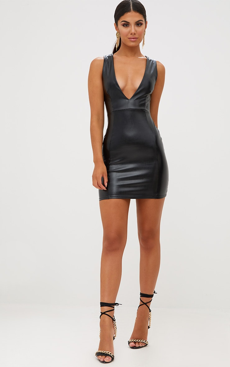 Black PU Plunge Bodycon Dress 4