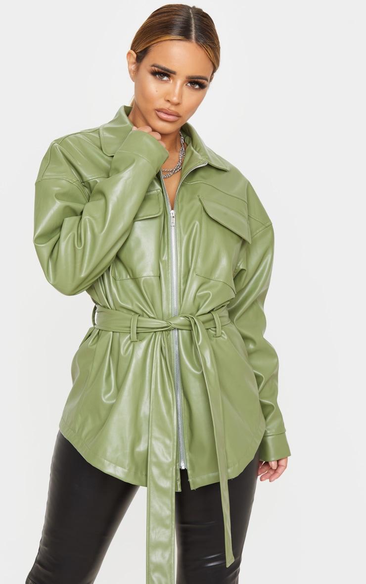 Petite Khaki Faux Leather Belt Detail Jacket 1