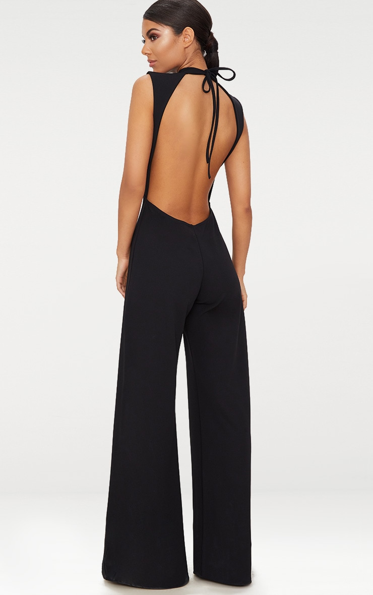 Black Crepe Sleeveless Keyhole Wide Leg Jumpsuit 2
