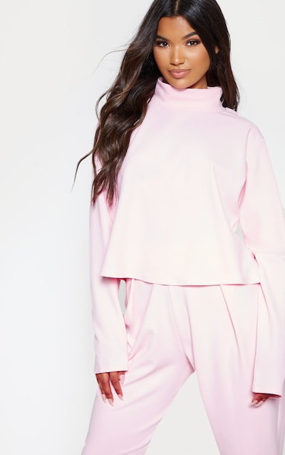 2112fbbdc4 Pastel Pink High Neck Long Sleeve Sweater