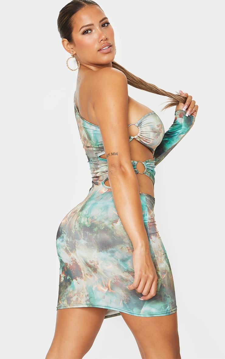 Shape Green Flame Print Ring Detail One Shoulder Bodycon Dress 2