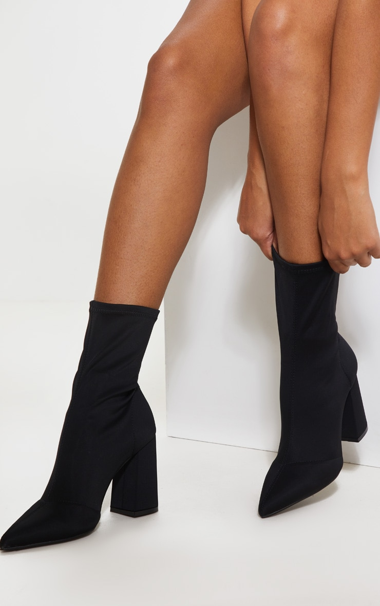 Black Block Heeled Point Toe Sock Boot 1