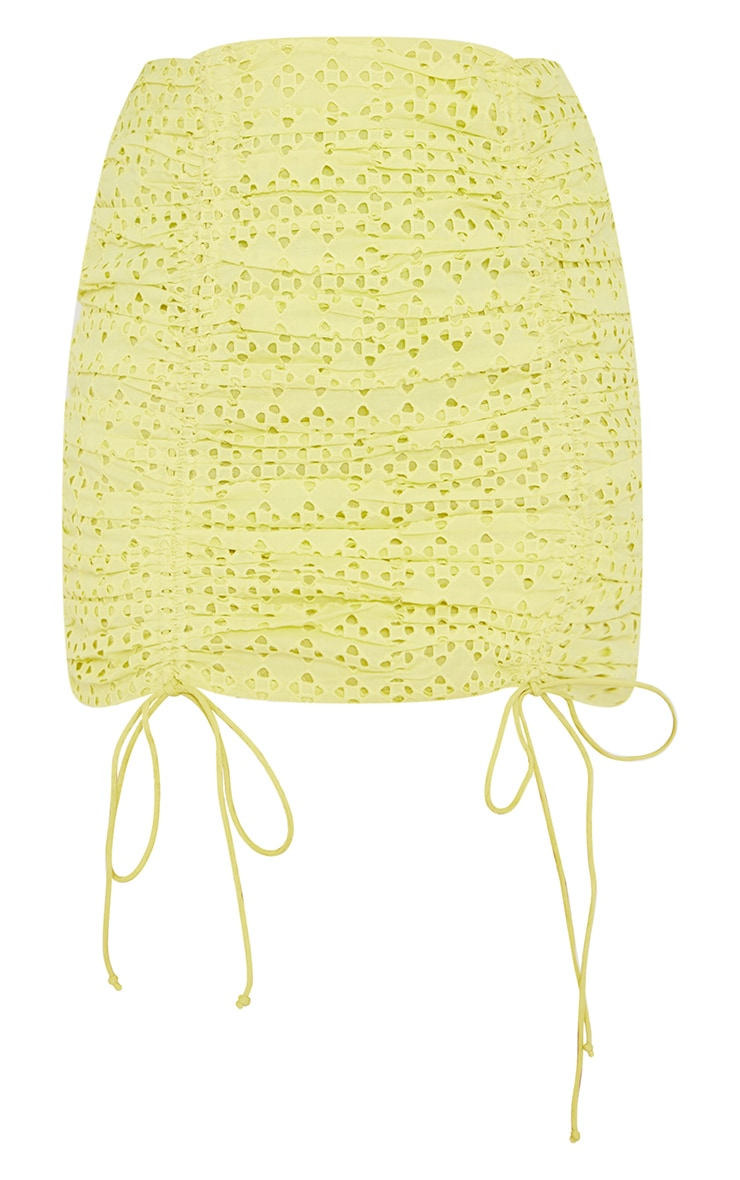 Pale Yellow Broderie Ruched Mini Skirt 6