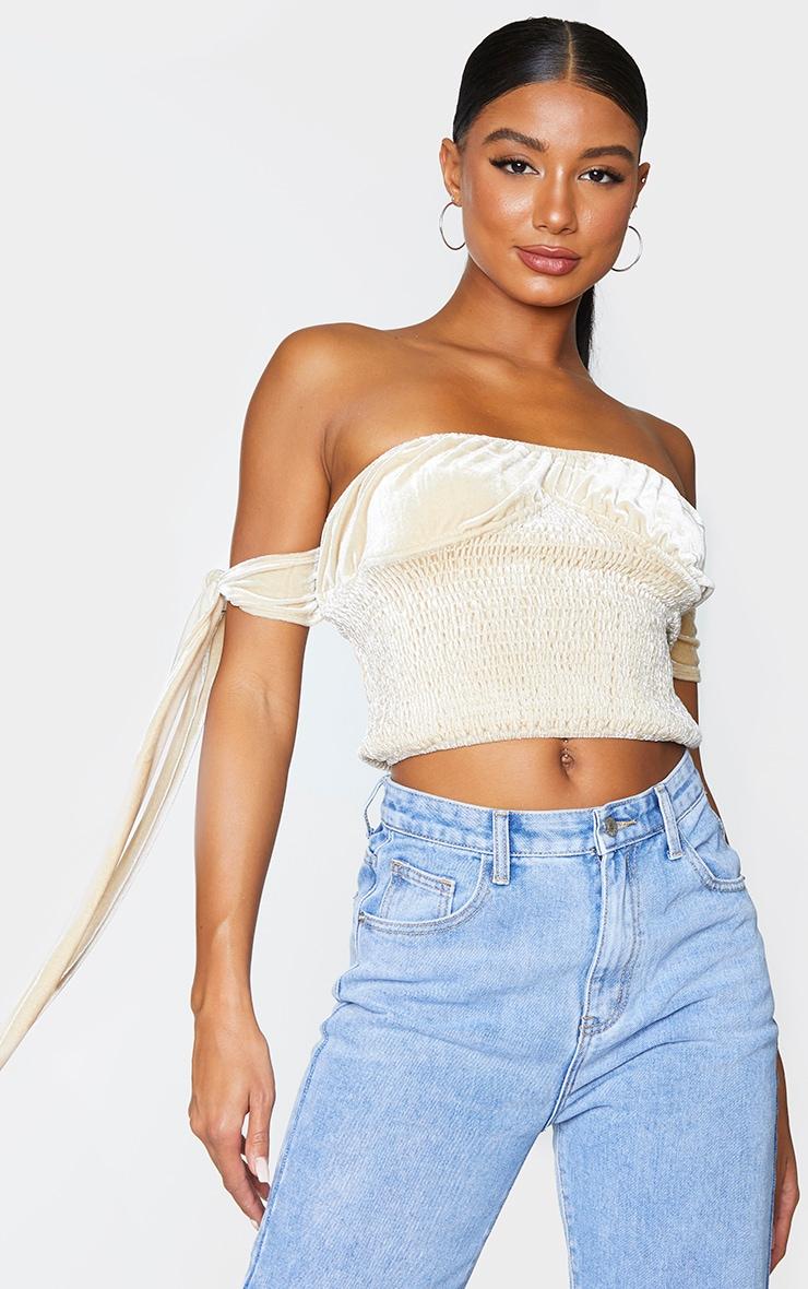Cream Velvet V Wire Underbust Shirring Top 3