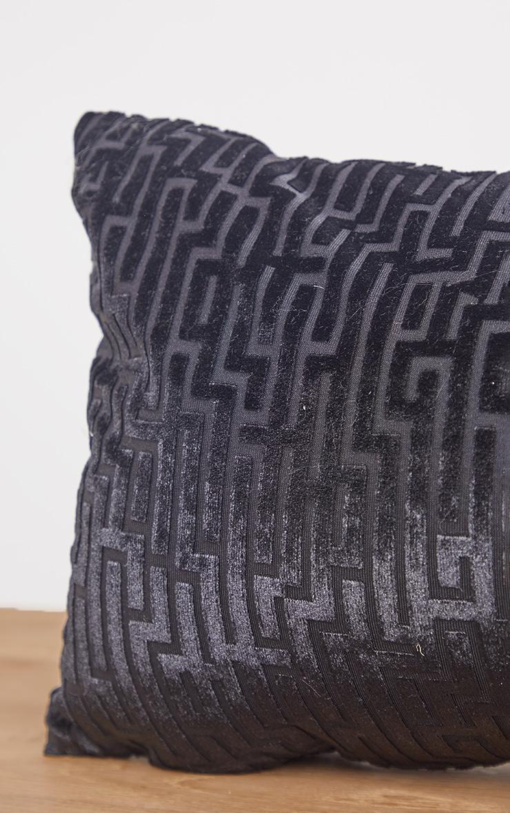 Black Jacquard Velvet Rectangular Cushion 4