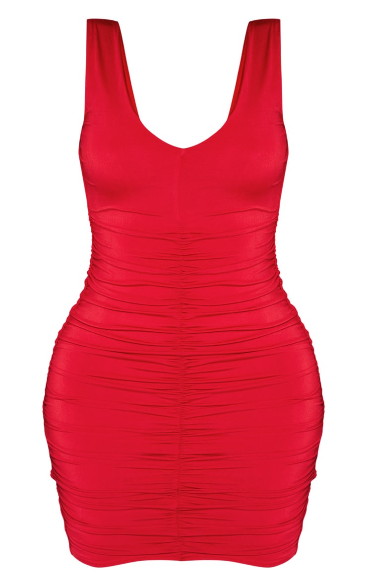 Shape Red Plunge Ruched Skirt Bodycon Dress 3
