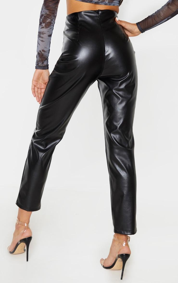Black Faux Leather Trouser  4