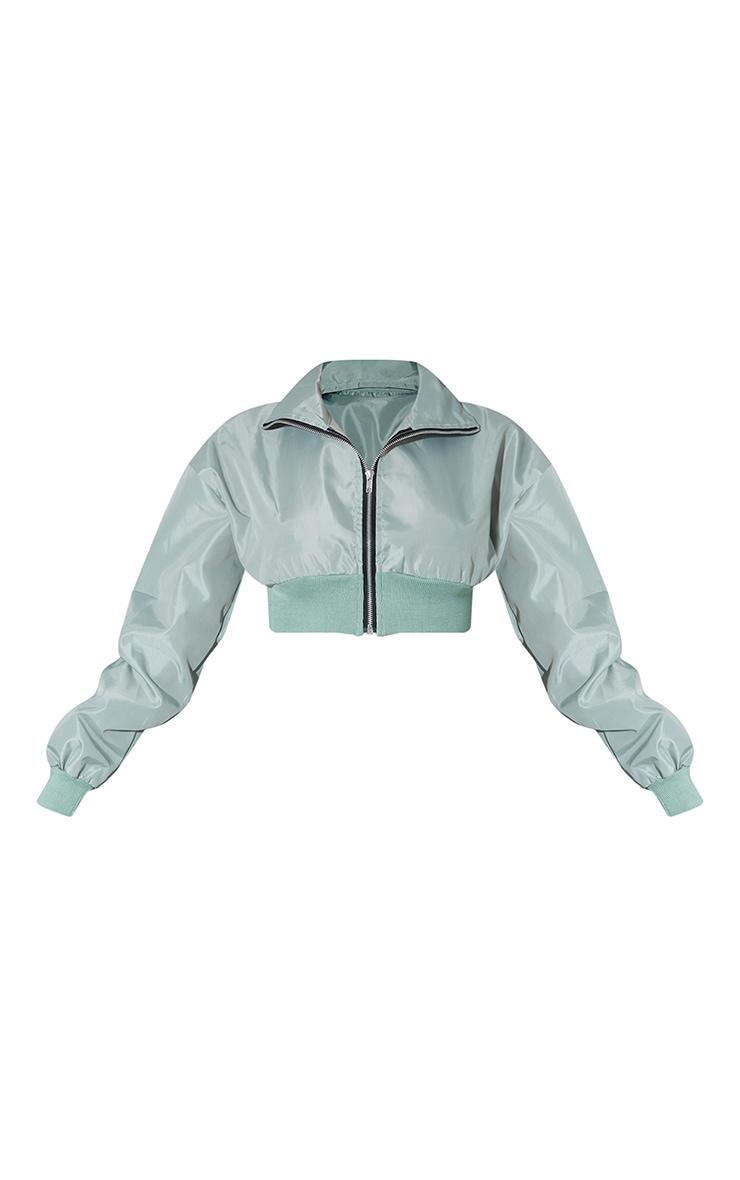 Sage Green Nylon Cropped Zip Up Tracksuit Jacket 5