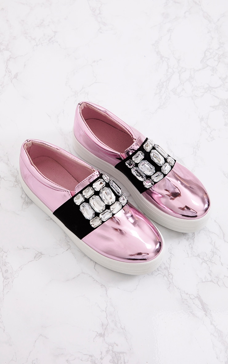 Pink Metallic Jewelled Flatform Pumps 6