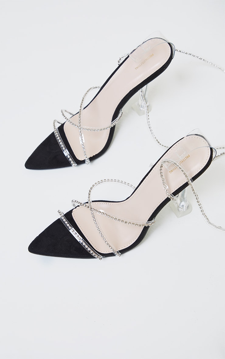 Black Clear Diamante Strappy Detail Pointed Toe Cake Stand High Heels 3