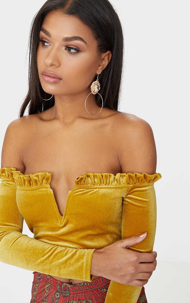 Mustard Velvet Frill Edge V Bar Bardot Crop Top 5
